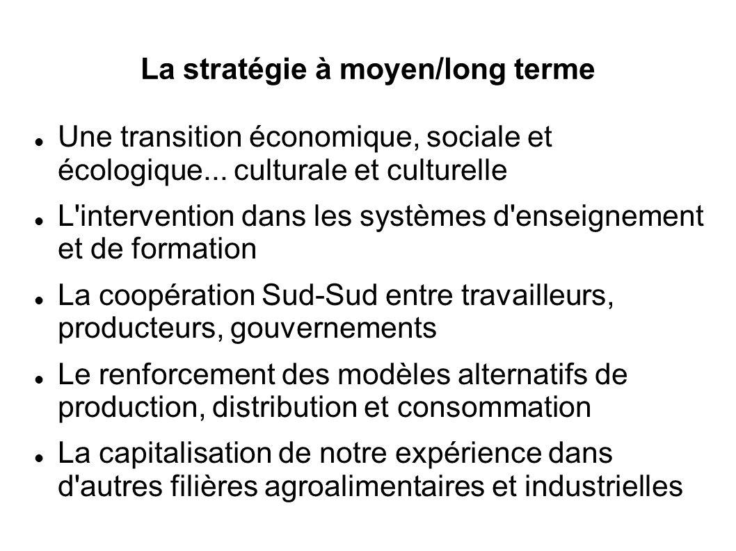 La stratégie à moyen/long terme Une transition économique, sociale et écologique...