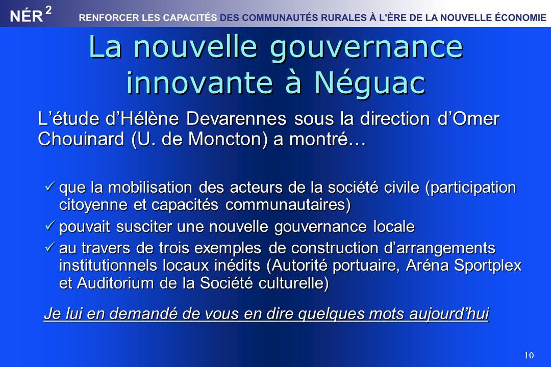 10 La nouvelle gouvernance innovante à Néguac Létude dHélène Devarennes sous la direction dOmer Chouinard (U. de Moncton) a montré… que la mobilisatio
