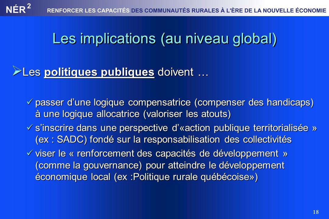 18 Les implications (au niveau global) Les politiques publiques doivent … Les politiques publiques doivent … passer dune logique compensatrice (compen