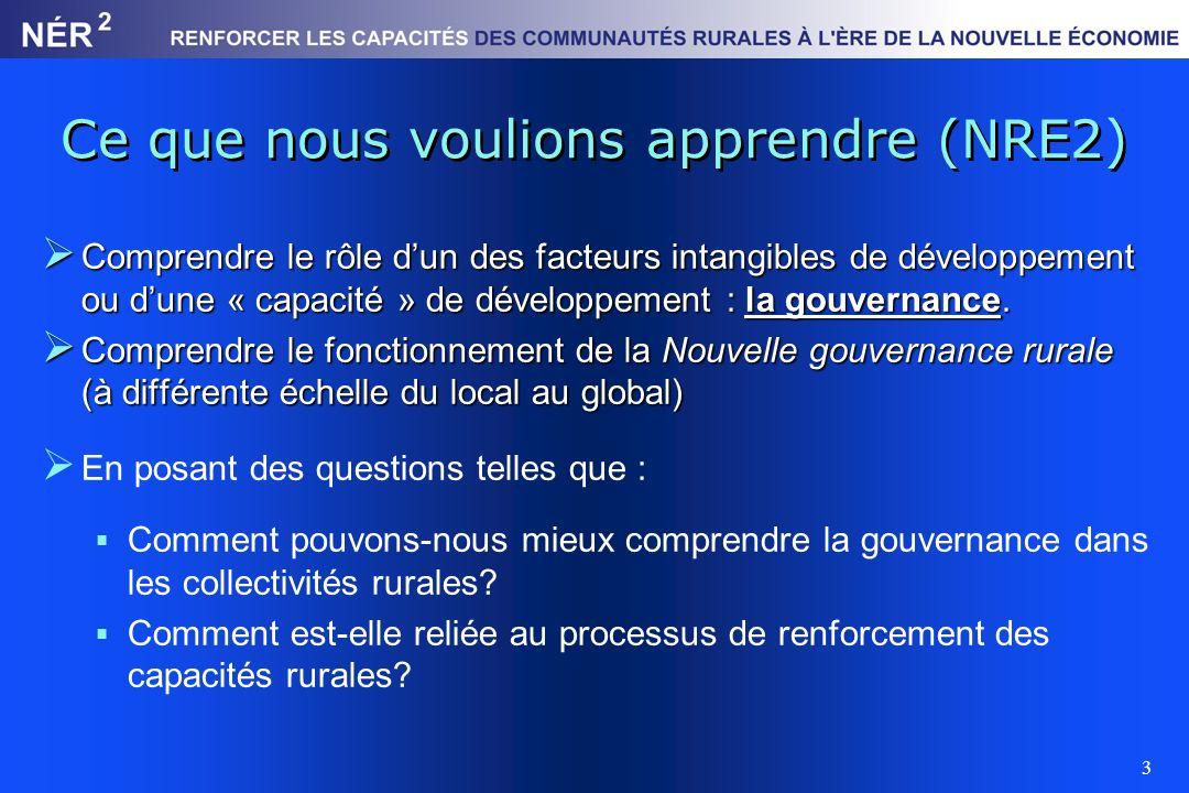 3 Ce que nous voulions apprendre (NRE2) Comprendre le rôle dun des facteurs intangibles de développement ou dune « capacité » de développement : la go