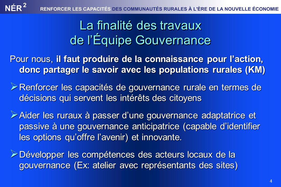 4 La finalité des travaux de lÉquipe Gouvernance Pour nous, il faut produire de la connaissance pour laction, donc partager le savoir avec les populat