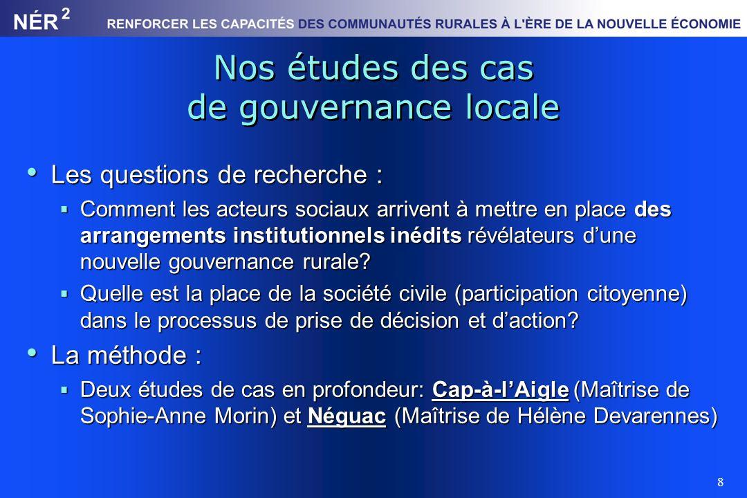 8 Nos études des cas de gouvernance locale Les questions de recherche : Les questions de recherche : Comment les acteurs sociaux arrivent à mettre en