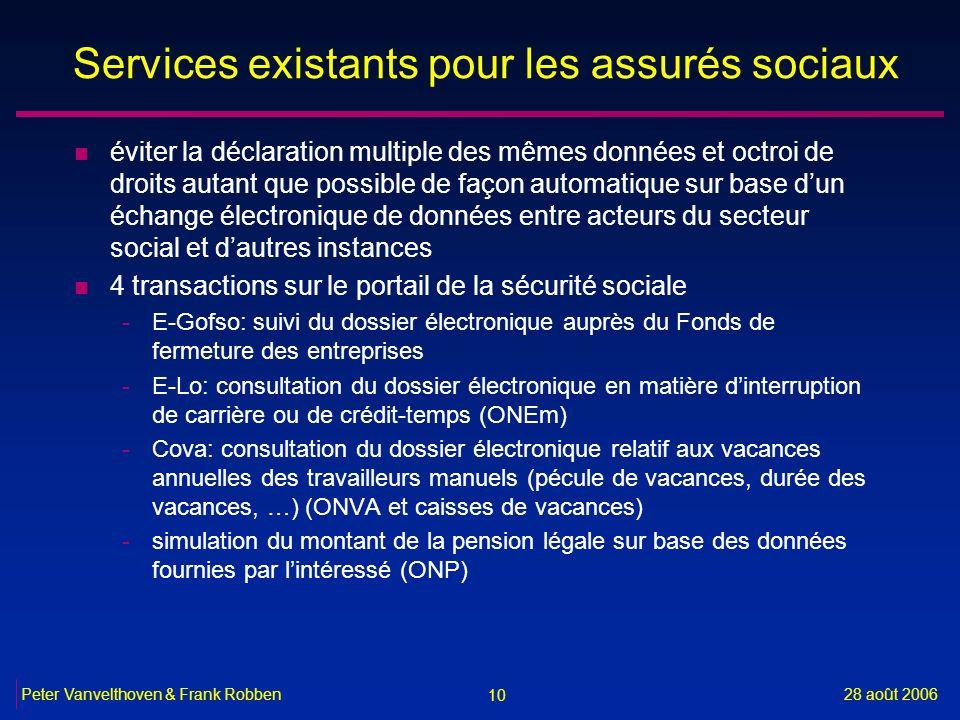 10 28 août 2006Peter Vanvelthoven & Frank Robben Services existants pour les assurés sociaux n éviter la déclaration multiple des mêmes données et oct