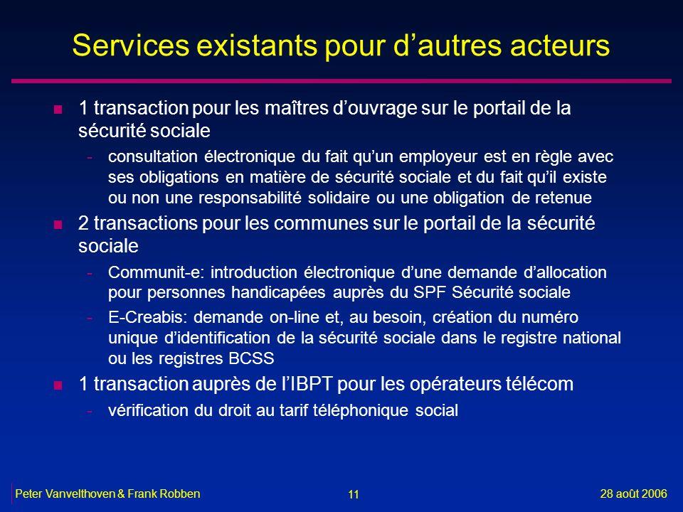 11 28 août 2006Peter Vanvelthoven & Frank Robben Services existants pour dautres acteurs n 1 transaction pour les maîtres douvrage sur le portail de l