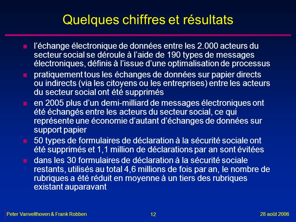 12 28 août 2006Peter Vanvelthoven & Frank Robben Quelques chiffres et résultats n léchange électronique de données entre les 2.000 acteurs du secteur