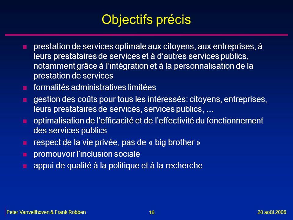 16 28 août 2006Peter Vanvelthoven & Frank Robben Objectifs précis n prestation de services optimale aux citoyens, aux entreprises, à leurs prestataire
