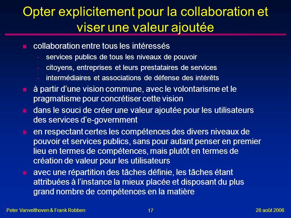 17 28 août 2006Peter Vanvelthoven & Frank Robben Opter explicitement pour la collaboration et viser une valeur ajoutée n collaboration entre tous les