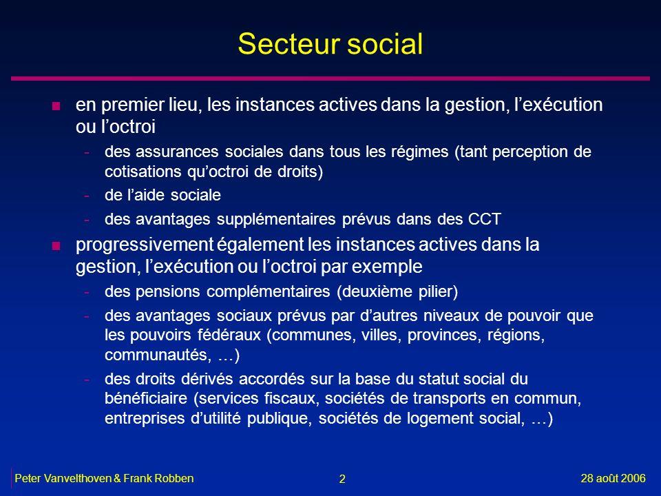 2 28 août 2006Peter Vanvelthoven & Frank Robben Secteur social n en premier lieu, les instances actives dans la gestion, lexécution ou loctroi -des as
