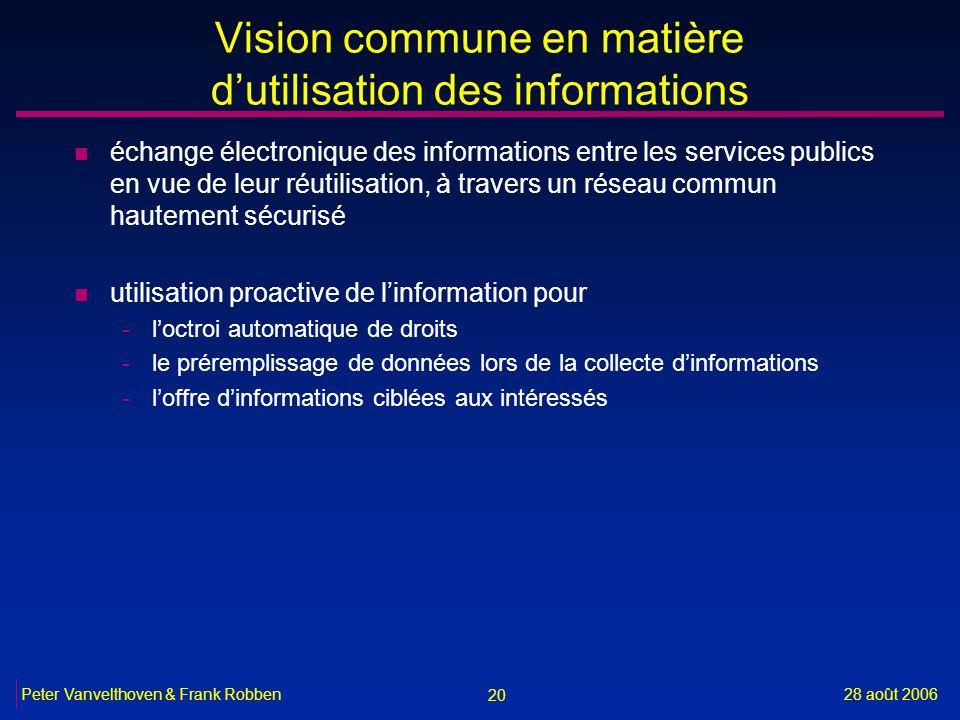 20 28 août 2006Peter Vanvelthoven & Frank Robben Vision commune en matière dutilisation des informations n échange électronique des informations entre