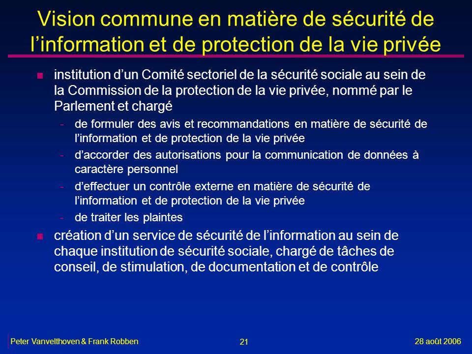 21 28 août 2006Peter Vanvelthoven & Frank Robben Vision commune en matière de sécurité de linformation et de protection de la vie privée n institution