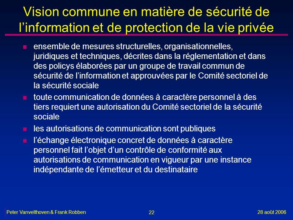 22 28 août 2006Peter Vanvelthoven & Frank Robben Vision commune en matière de sécurité de linformation et de protection de la vie privée n ensemble de