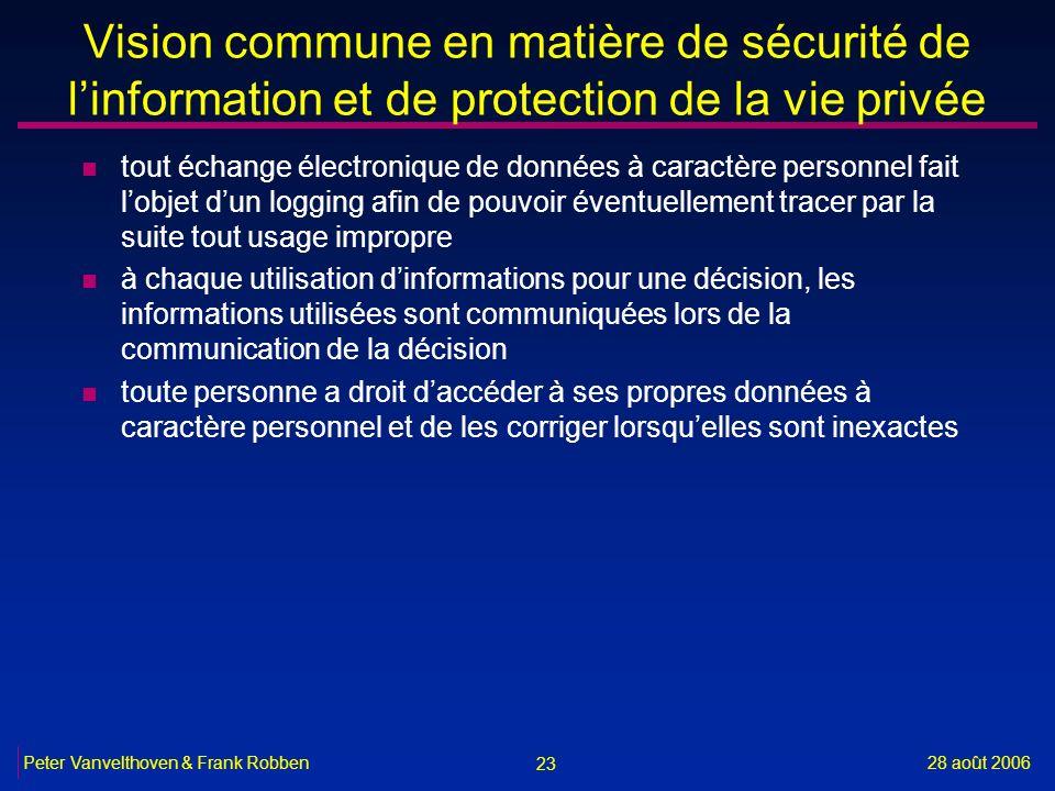 23 28 août 2006Peter Vanvelthoven & Frank Robben Vision commune en matière de sécurité de linformation et de protection de la vie privée n tout échang