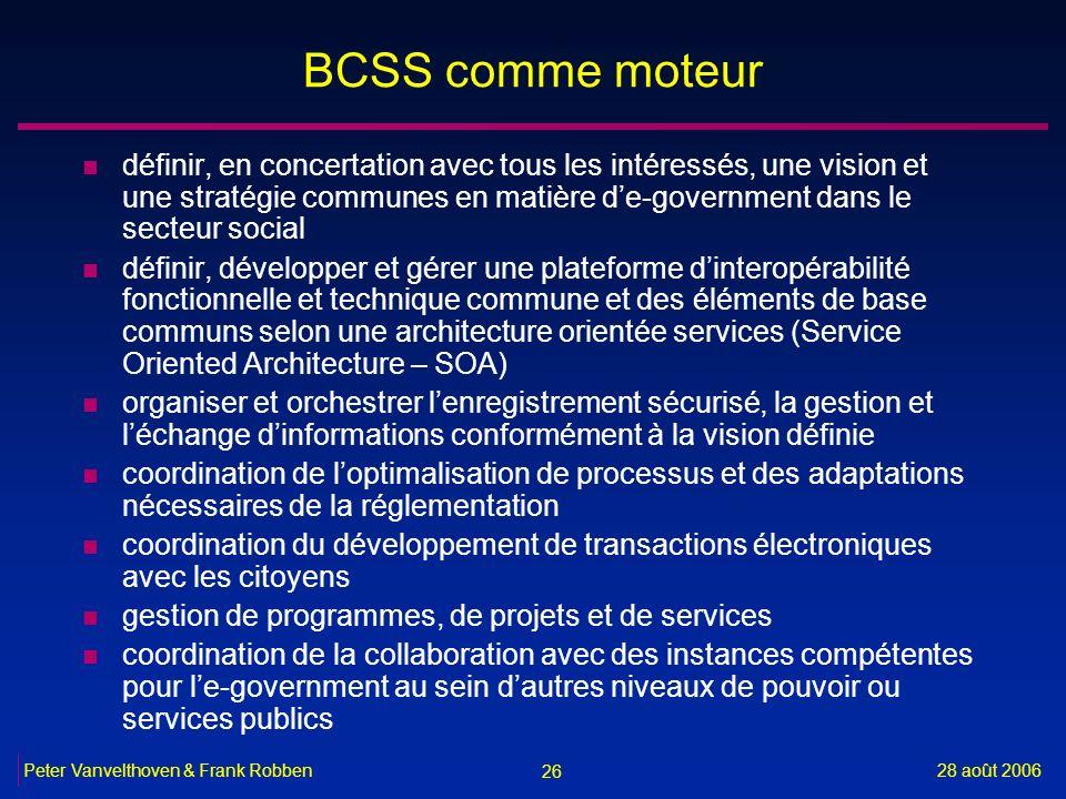 26 28 août 2006Peter Vanvelthoven & Frank Robben BCSS comme moteur n définir, en concertation avec tous les intéressés, une vision et une stratégie co