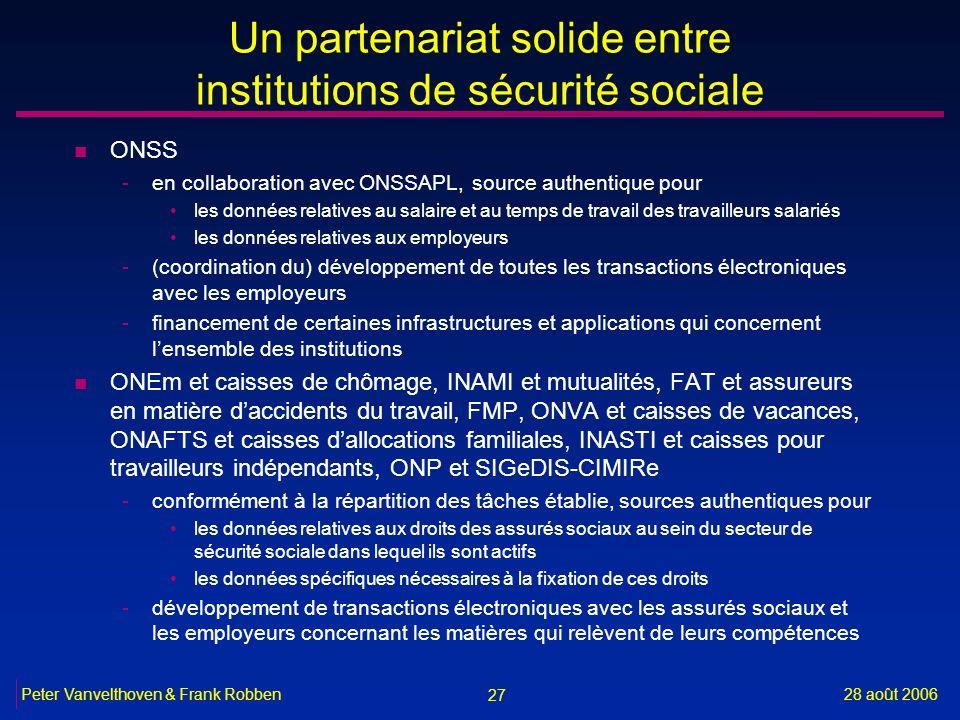 27 28 août 2006Peter Vanvelthoven & Frank Robben Un partenariat solide entre institutions de sécurité sociale n ONSS -en collaboration avec ONSSAPL, s