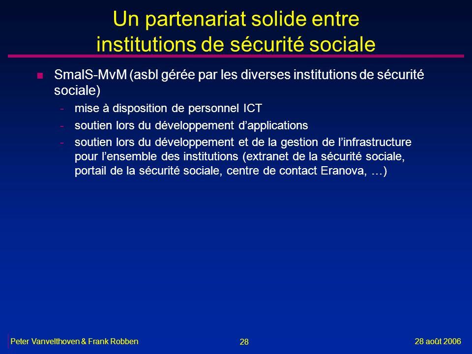 28 28 août 2006Peter Vanvelthoven & Frank Robben Un partenariat solide entre institutions de sécurité sociale n SmalS-MvM (asbl gérée par les diverses