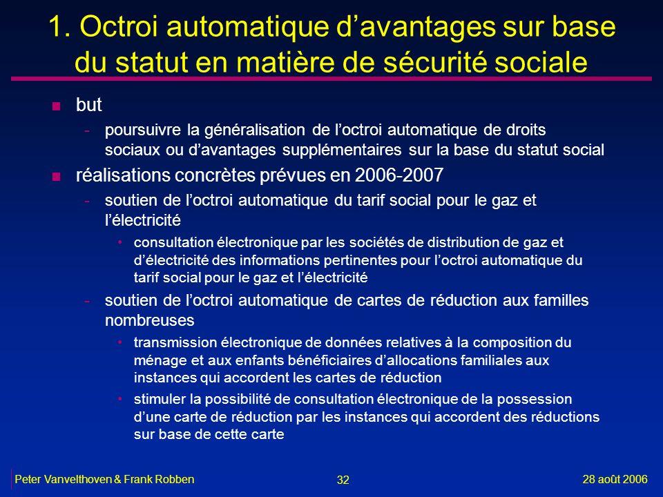 32 28 août 2006Peter Vanvelthoven & Frank Robben 1. Octroi automatique davantages sur base du statut en matière de sécurité sociale n but -poursuivre