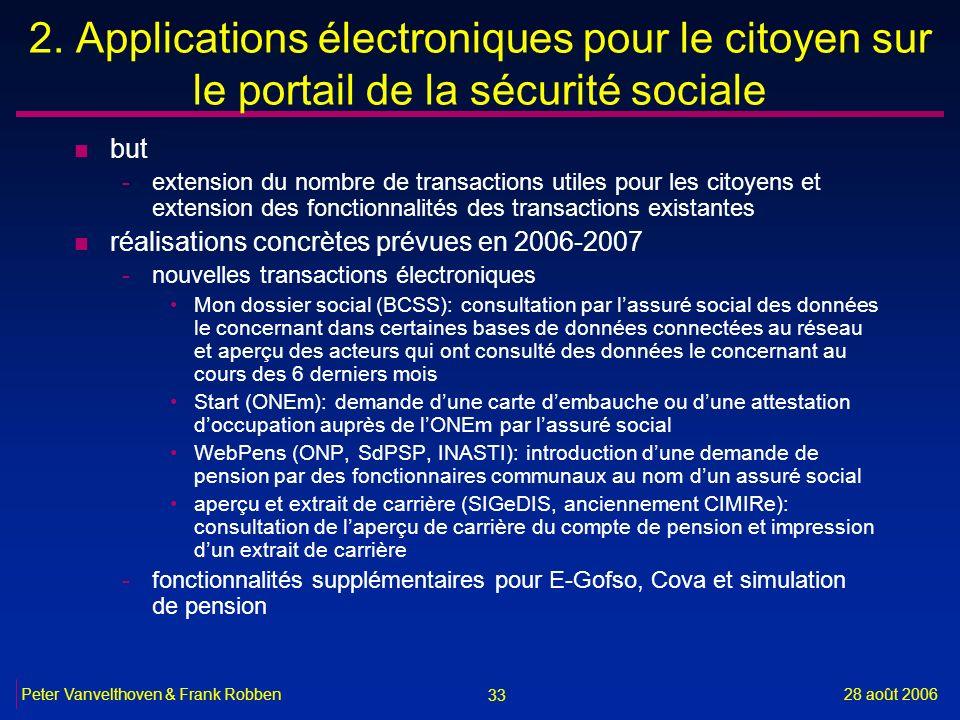 33 28 août 2006Peter Vanvelthoven & Frank Robben 2. Applications électroniques pour le citoyen sur le portail de la sécurité sociale n but -extension