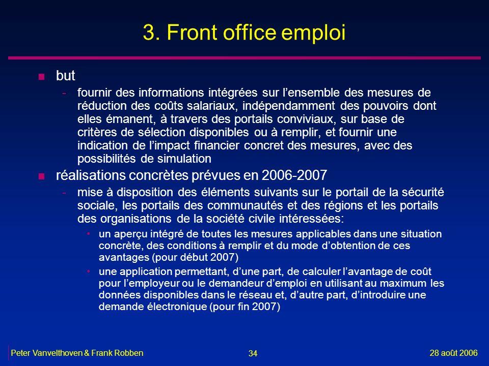 34 28 août 2006Peter Vanvelthoven & Frank Robben 3. Front office emploi n but -fournir des informations intégrées sur lensemble des mesures de réducti