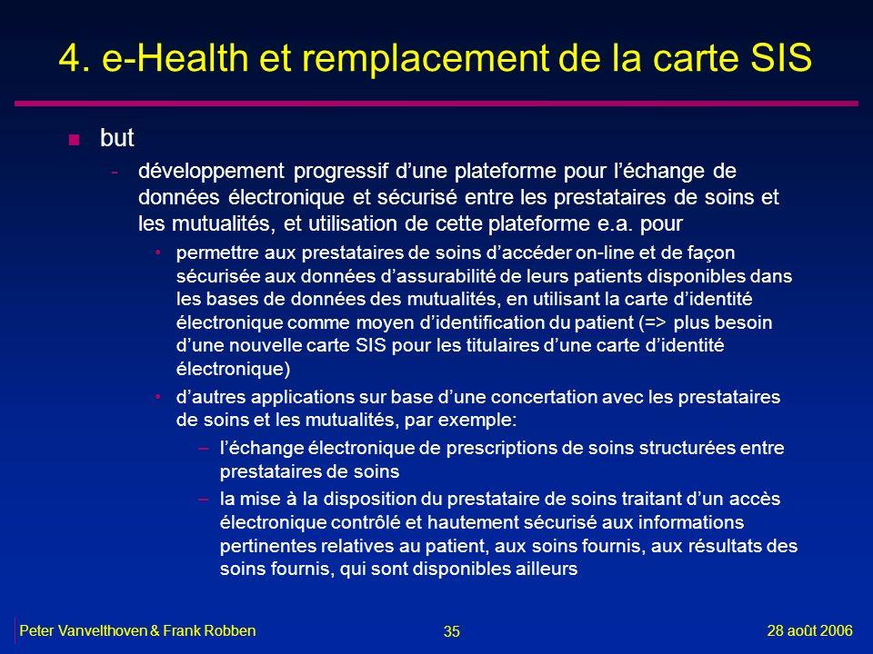 35 28 août 2006Peter Vanvelthoven & Frank Robben 4. e-Health et remplacement de la carte SIS n but -développement progressif dune plateforme pour léch