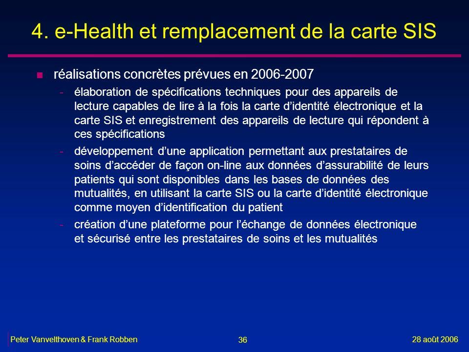 36 28 août 2006Peter Vanvelthoven & Frank Robben 4. e-Health et remplacement de la carte SIS n réalisations concrètes prévues en 2006-2007 -élaboratio