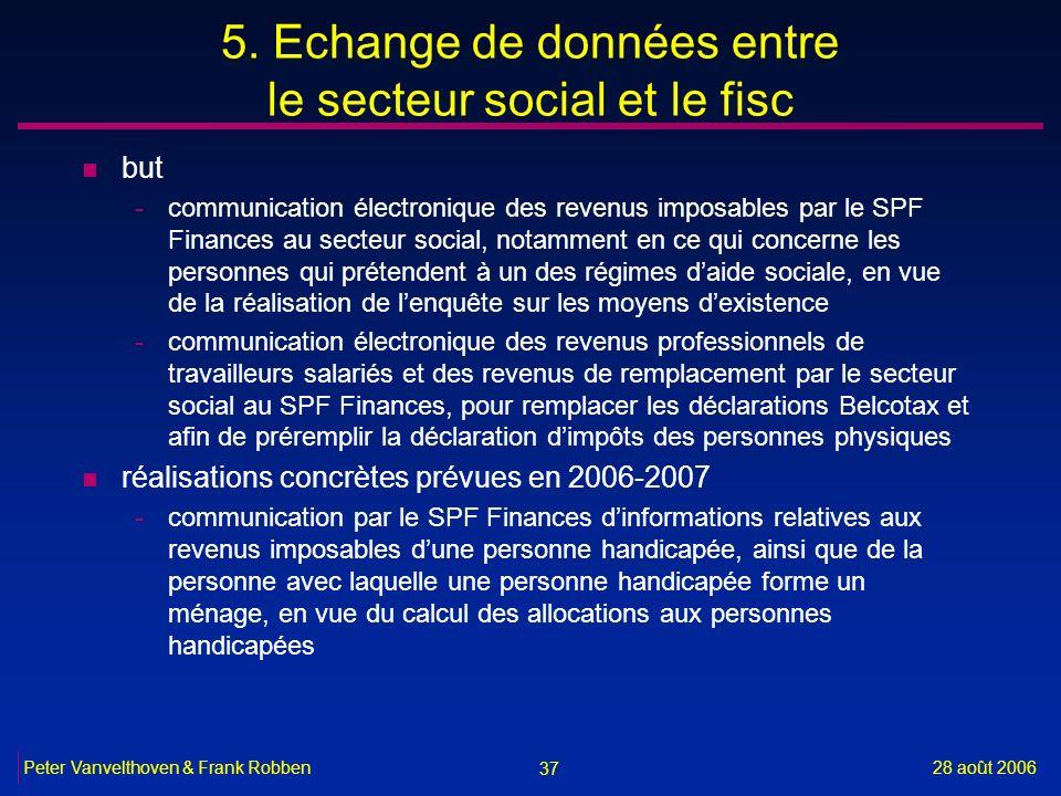 37 28 août 2006Peter Vanvelthoven & Frank Robben 5. Echange de données entre le secteur social et le fisc n but -communication électronique des revenu