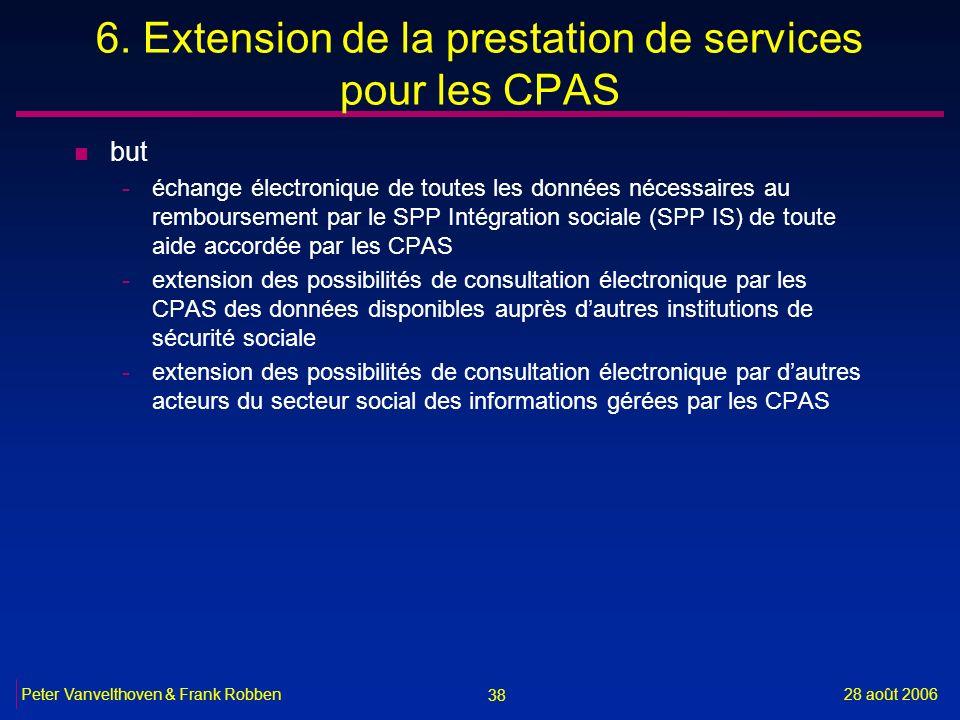 38 28 août 2006Peter Vanvelthoven & Frank Robben 6. Extension de la prestation de services pour les CPAS n but -échange électronique de toutes les don