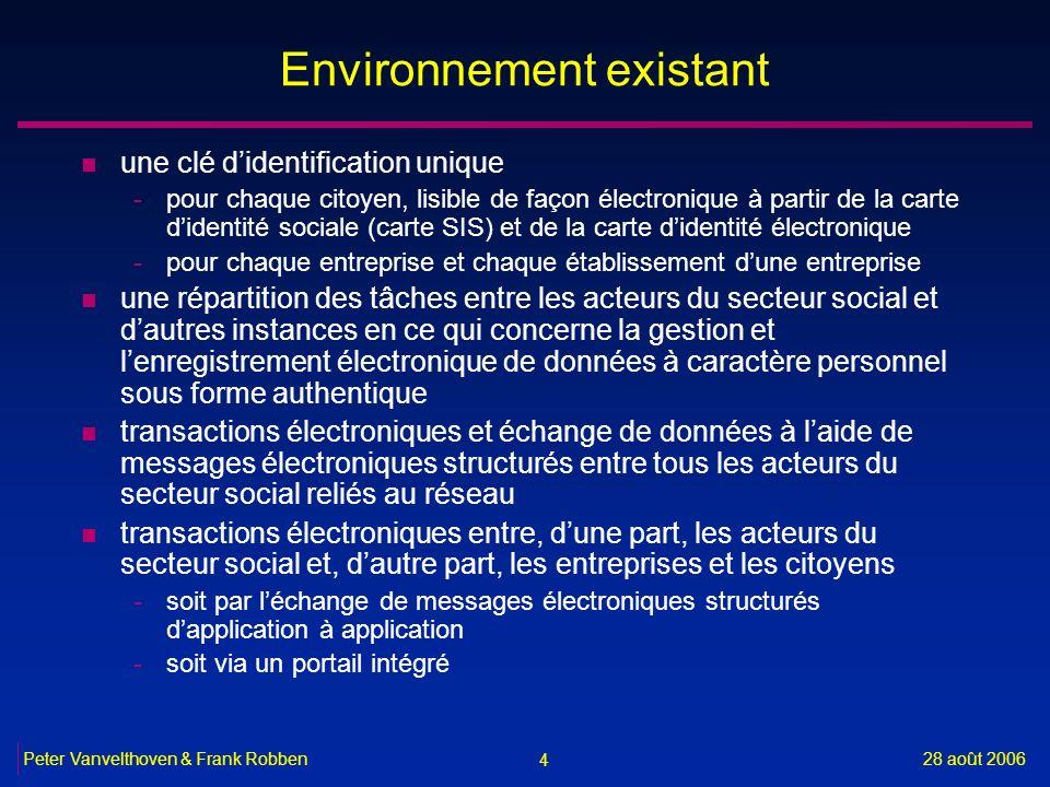 4 28 août 2006Peter Vanvelthoven & Frank Robben Environnement existant n une clé didentification unique -pour chaque citoyen, lisible de façon électro