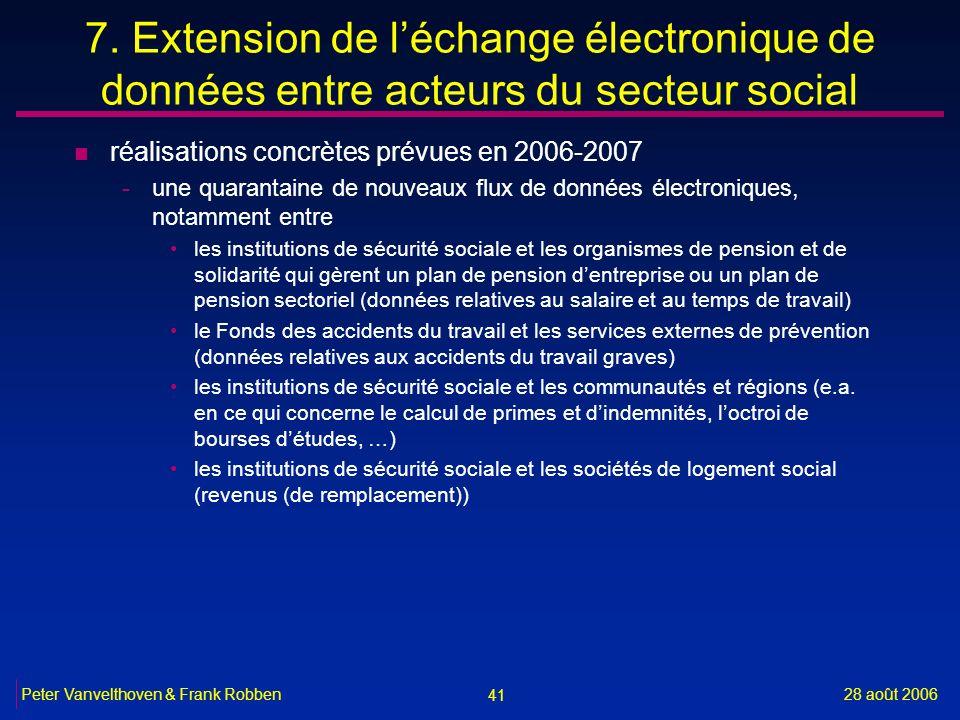 41 28 août 2006Peter Vanvelthoven & Frank Robben 7. Extension de léchange électronique de données entre acteurs du secteur social n réalisations concr