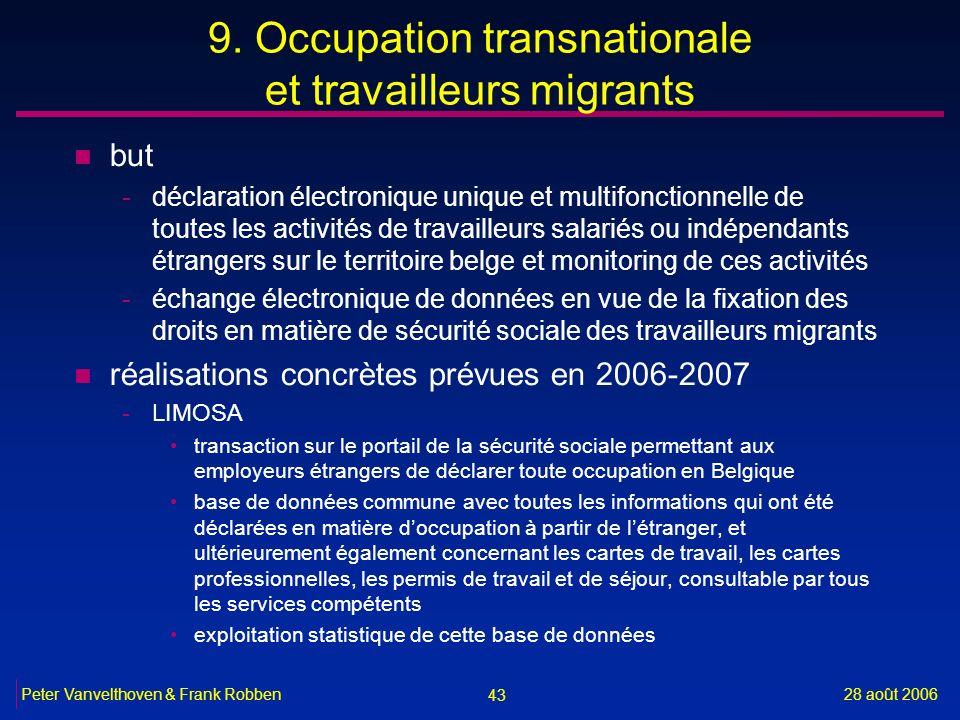 43 28 août 2006Peter Vanvelthoven & Frank Robben 9. Occupation transnationale et travailleurs migrants n but -déclaration électronique unique et multi
