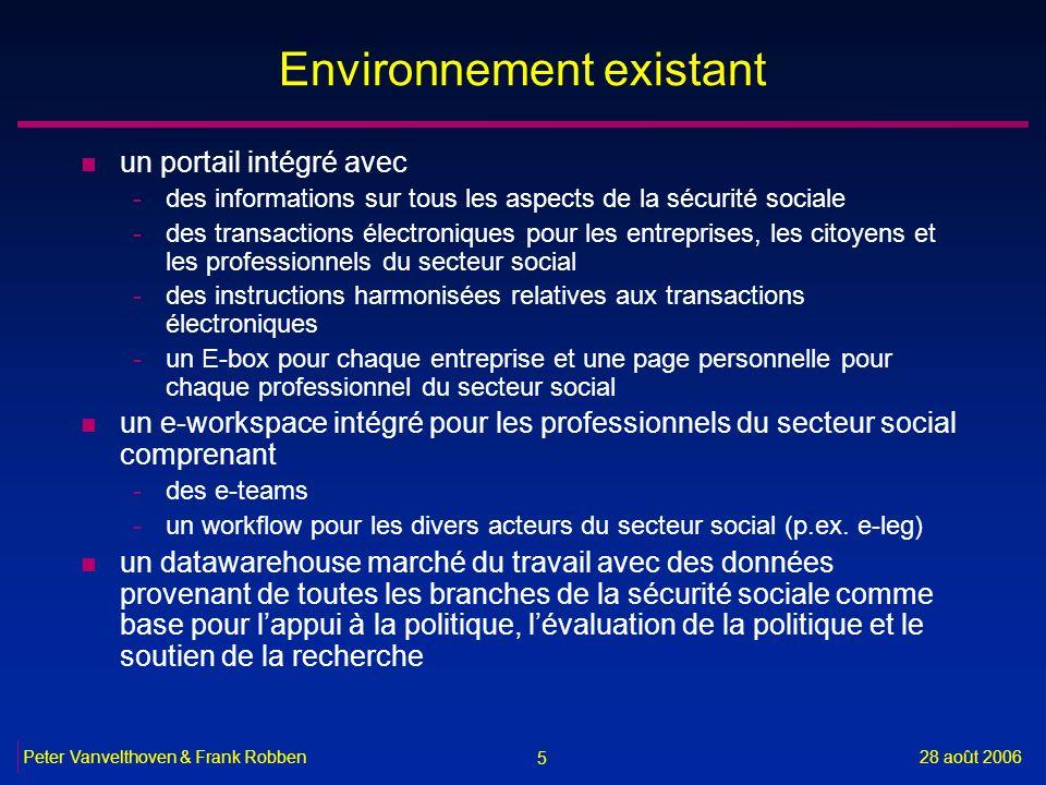 5 28 août 2006Peter Vanvelthoven & Frank Robben Environnement existant n un portail intégré avec -des informations sur tous les aspects de la sécurité