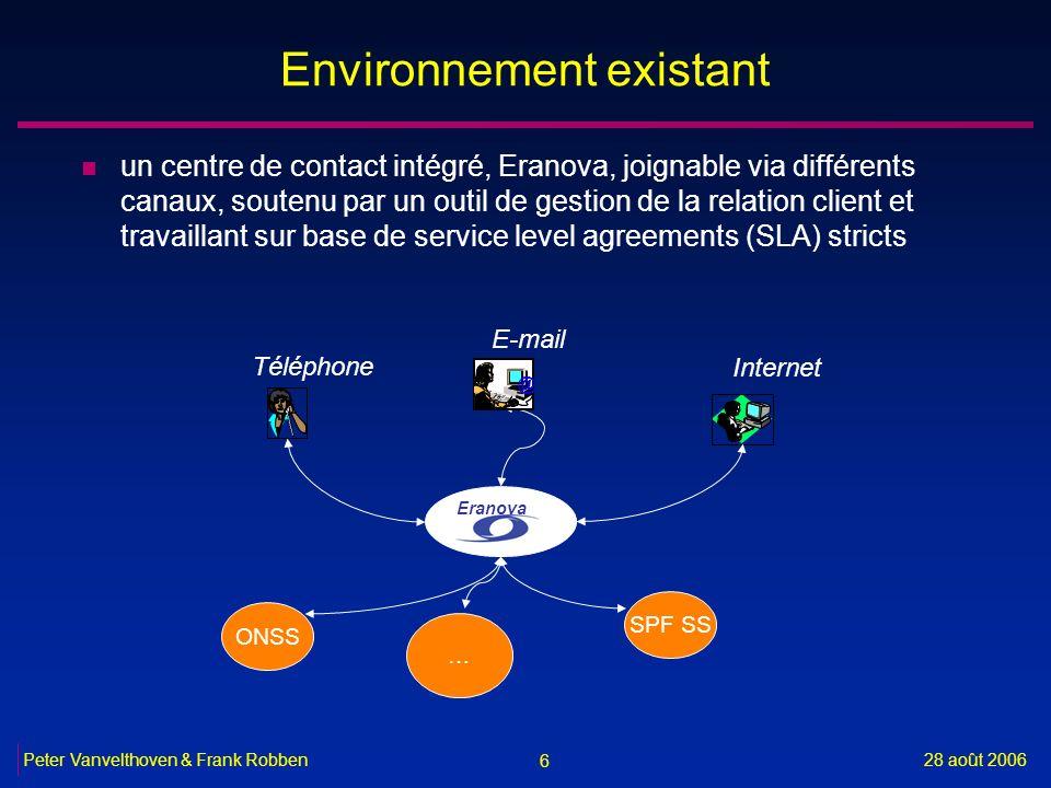 6 28 août 2006Peter Vanvelthoven & Frank Robben Environnement existant n un centre de contact intégré, Eranova, joignable via différents canaux, soute