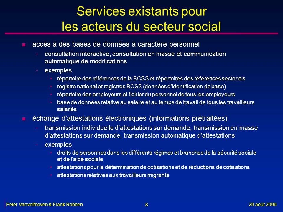 8 28 août 2006Peter Vanvelthoven & Frank Robben Services existants pour les acteurs du secteur social n accès à des bases de données à caractère perso