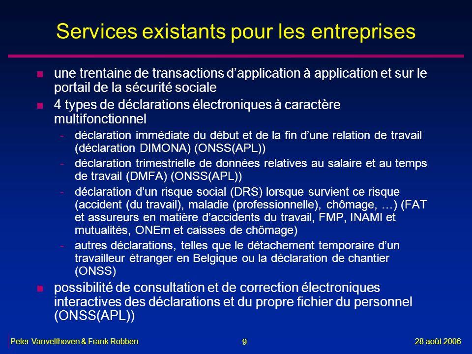 9 28 août 2006Peter Vanvelthoven & Frank Robben Services existants pour les entreprises n une trentaine de transactions dapplication à application et