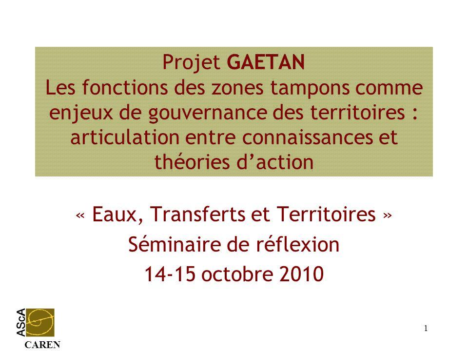 CAREN 1 Projet GAETAN Les fonctions des zones tampons comme enjeux de gouvernance des territoires : articulation entre connaissances et théories dacti