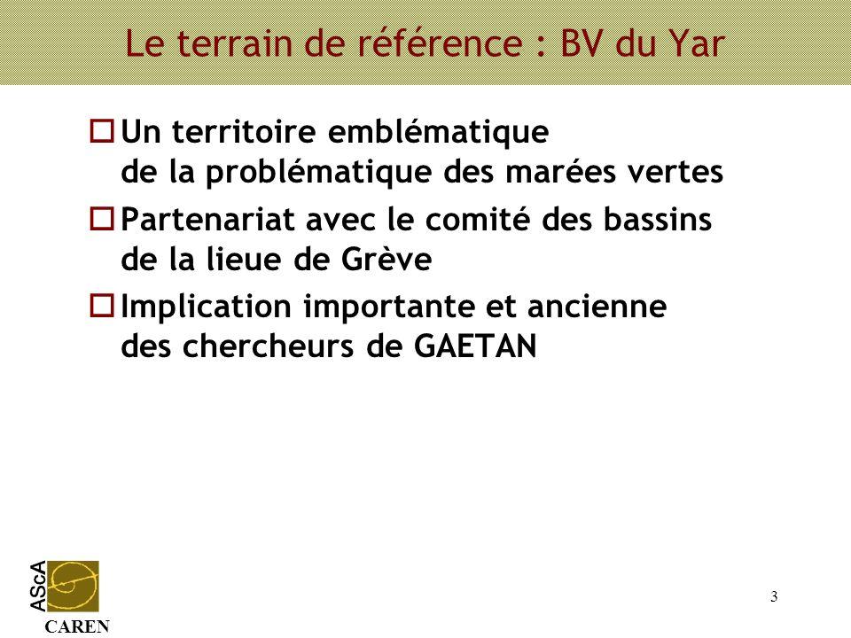 CAREN 3 Le terrain de référence : BV du Yar oUn territoire emblématique de la problématique des marées vertes oPartenariat avec le comité des bassins