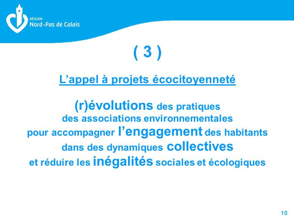 10 ( 3 ) Lappel à projets écocitoyenneté (r)évolutions des pratiques des associations environnementales pour accompagner lengagement des habitants dans des dynamiques collectives et réduire les inégalités sociales et écologiques