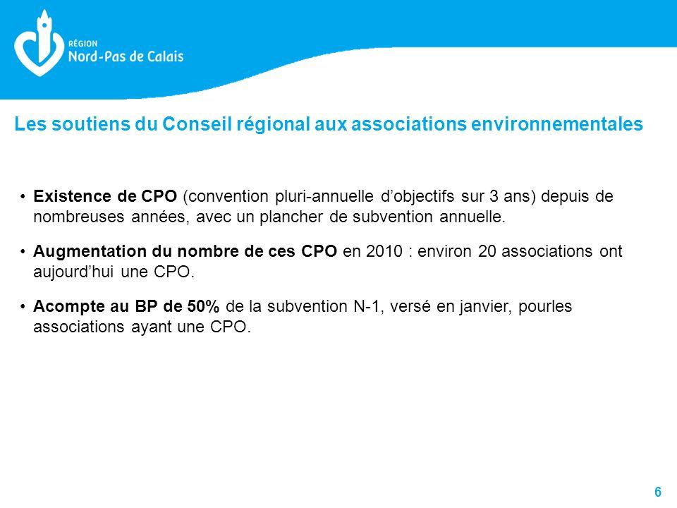 6 Existence de CPO (convention pluri-annuelle dobjectifs sur 3 ans) depuis de nombreuses années, avec un plancher de subvention annuelle.