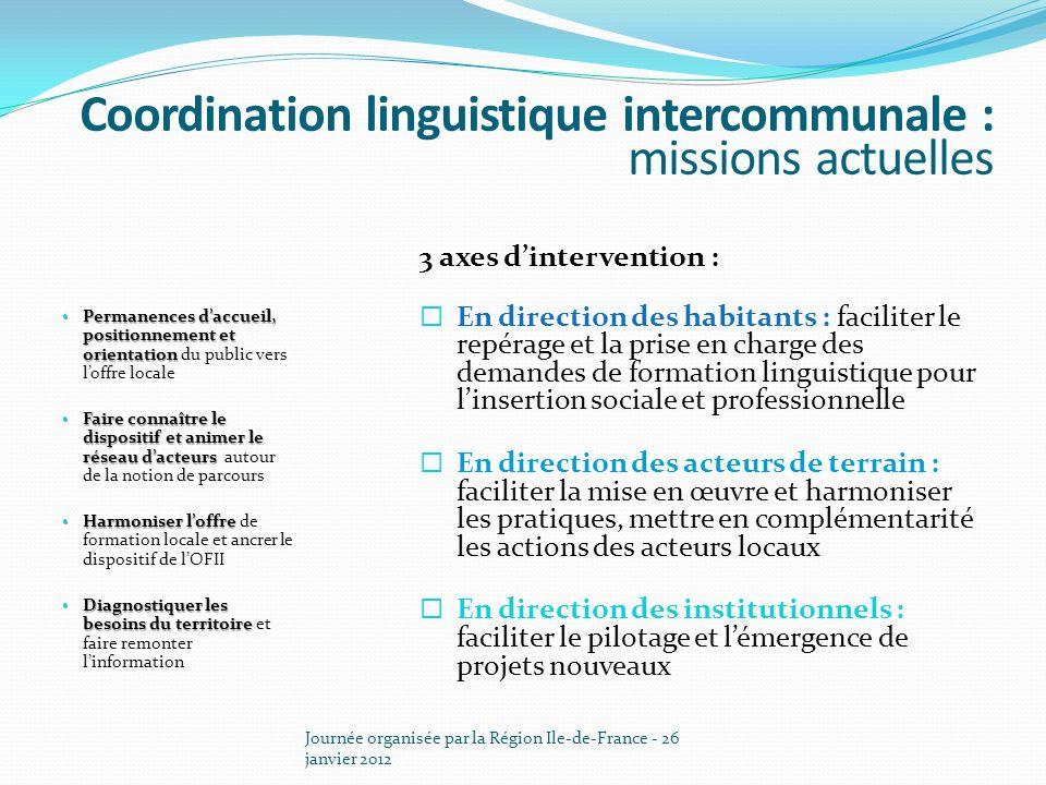Journée organisée par la Région Ile-de-France - 26 janvier 2012 3 axes dintervention : En direction des habitants : faciliter le repérage et la prise