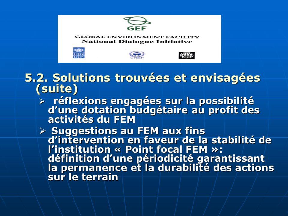 5.2. Solutions trouvées et envisagées (suite) réflexions engagées sur la possibilité dune dotation budgétaire au profit des activités du FEM réflexion