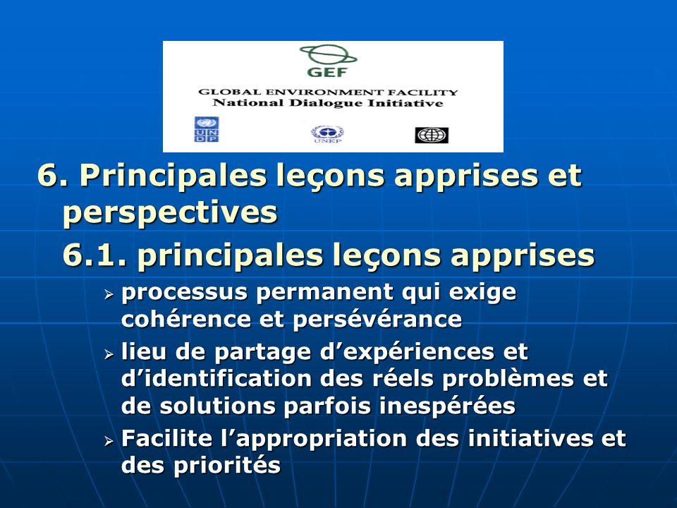 6. Principales leçons apprises et perspectives 6.1.