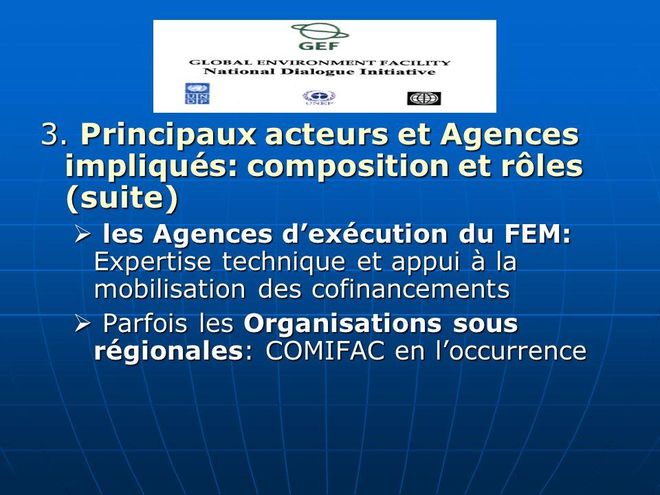 3. Principaux acteurs et Agences impliqués: composition et rôles (suite) les Agences dexécution du FEM: Expertise technique et appui à la mobilisation