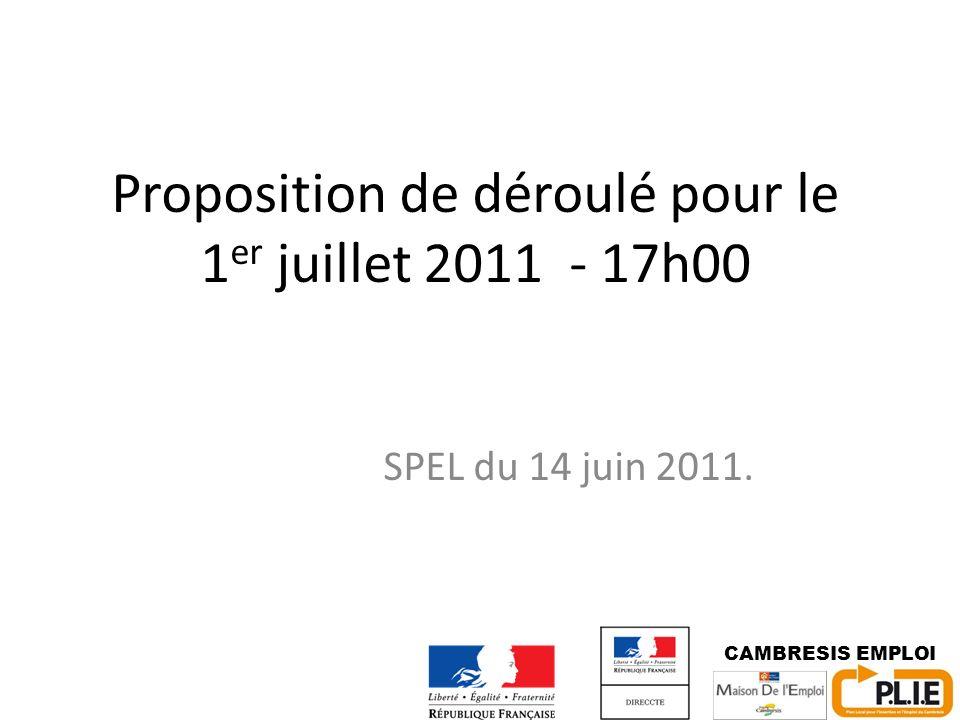 Proposition de déroulé pour le 1 er juillet 2011 - 17h00 SPEL du 14 juin 2011. CAMBRESIS EMPLOI