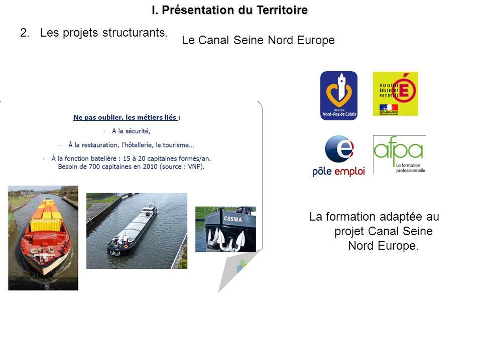La formation adaptée au projet Canal Seine Nord Europe. I. Présentation du Territoire 2. Les projets structurants. Le Canal Seine Nord Europe
