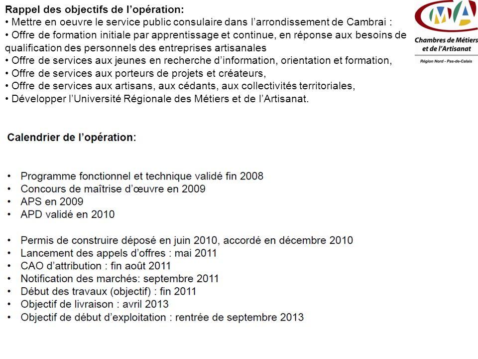 Rappel des objectifs de lopération: Mettre en oeuvre le service public consulaire dans larrondissement de Cambrai : Offre de formation initiale par ap