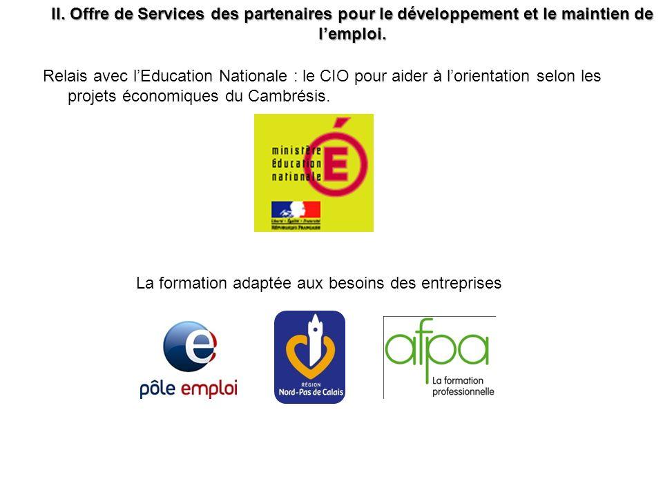 II. Offre de Services des partenaires pour le développement et le maintien de lemploi. La formation adaptée aux besoins des entreprises Relais avec lE