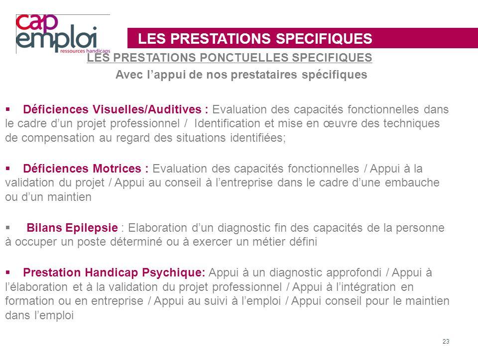 LES PRESTATIONS SPECIFIQUES LES PRESTATIONS PONCTUELLES SPECIFIQUES Avec lappui de nos prestataires spécifiques Déficiences Visuelles/Auditives : Eval