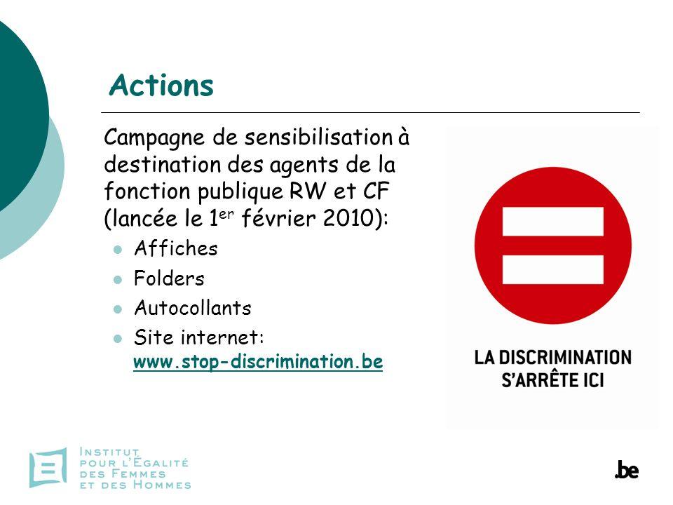 Actions Campagne de sensibilisation à destination des agents de la fonction publique RW et CF (lancée le 1 er février 2010): Affiches Folders Autocollants Site internet: www.stop-discrimination.be www.stop-discrimination.be
