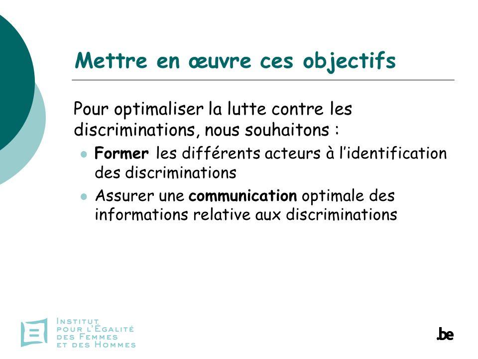 Pour optimaliser la lutte contre les discriminations, nous souhaitons : Former les différents acteurs à lidentification des discriminations Assurer une communication optimale des informations relative aux discriminations Mettre en œuvre ces objectifs