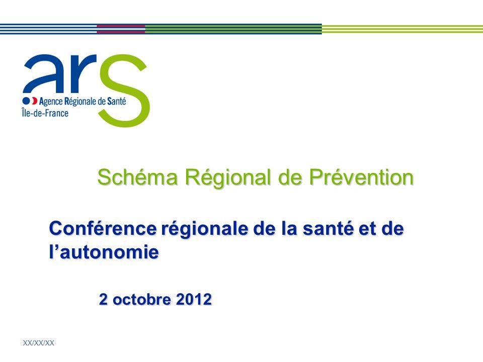 XX/XX/XX Schéma Régional de Prévention Conférence régionale de la santé et de lautonomie 2 octobre 2012