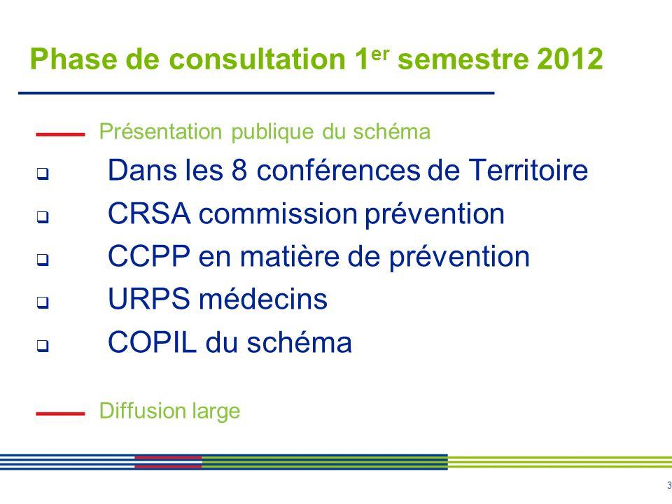 3 Phase de consultation 1 er semestre 2012 Présentation publique du schéma Dans les 8 conférences de Territoire CRSA commission prévention CCPP en matière de prévention URPS médecins COPIL du schéma Diffusion large